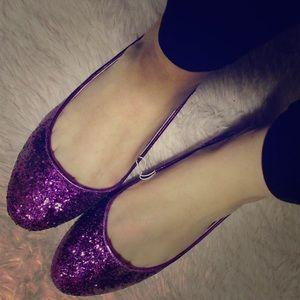 Sparkly purple flats!